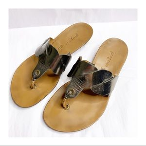 Paul Green Leather Slide Thong Sandals Metallic 8